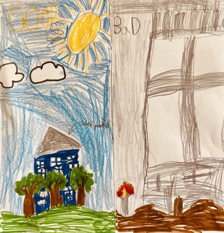 """Good vs Bad"" by Daniel, aged 9"